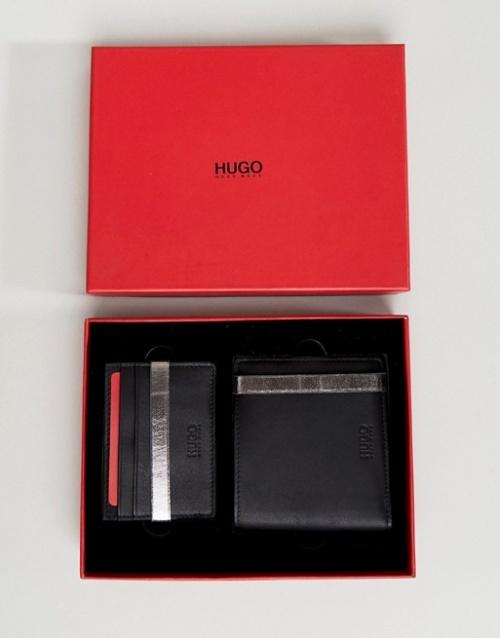 HUGO - Coffret cadeau portefeuille et porte-cartes en cuir