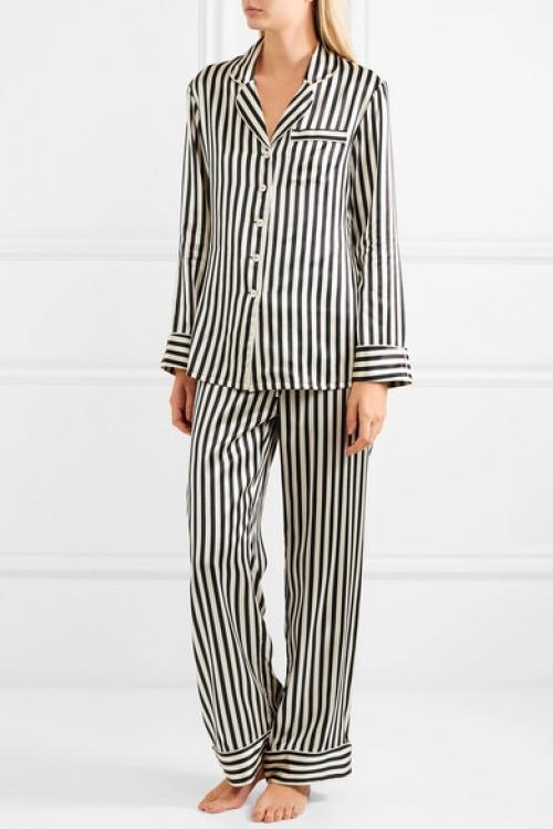 Olivia Von Halle - Pyjama en satin de soie à rayures