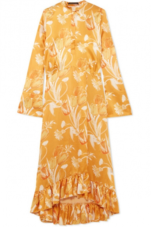 Mother of Pearl - Robe en satin de soie et volants