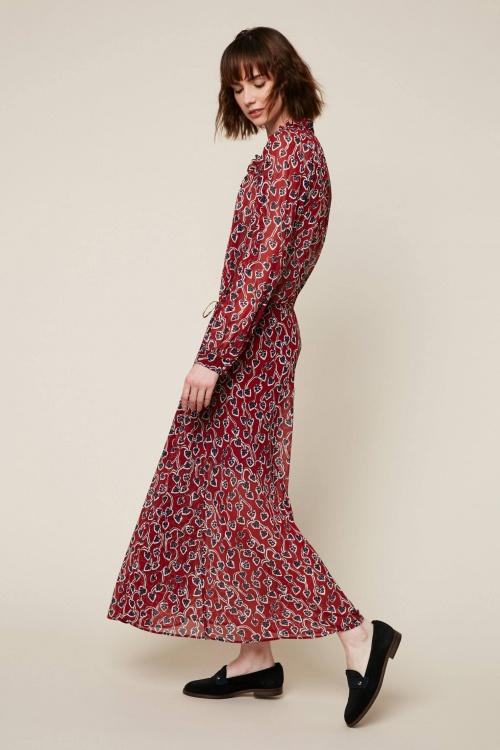 IKKS - Robe longue bordeaux imprimé195 floral