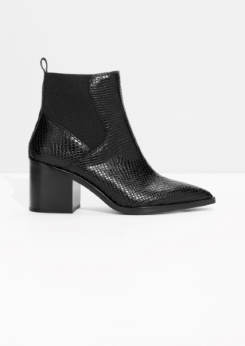 & Other Stories - Bottines en cuir effet python