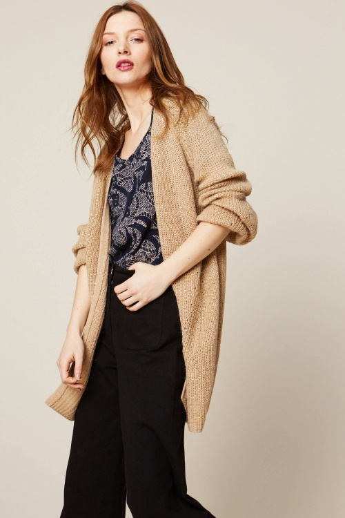 Only - Cardigan long en fine maille beige