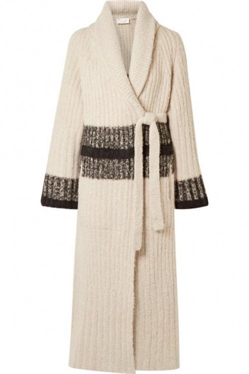 Chloé - Cardigan en laine mélangée côtelée à rayures