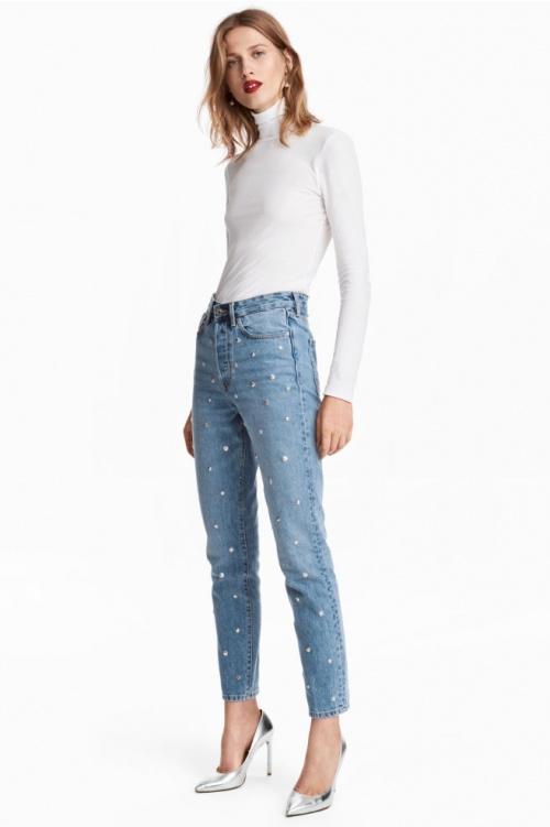 H&M - Jean taille haute à perles