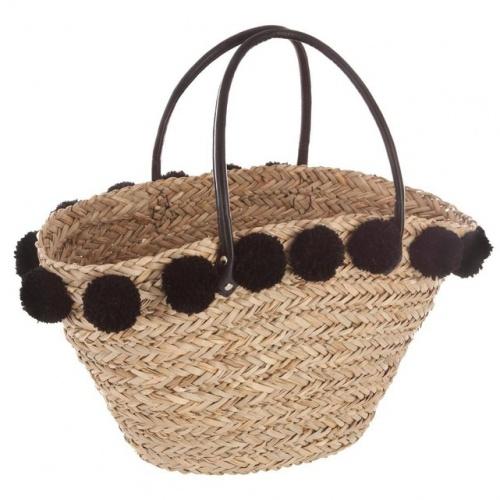 Decoratie - Panier de shopping en osier avec pompons