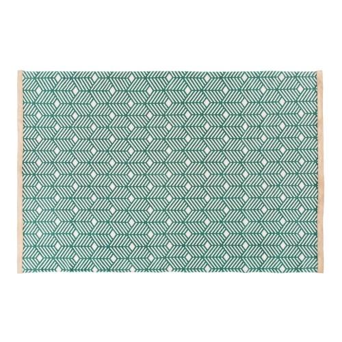 Maison du Monde - Tapis en coton vert motifs graphiques