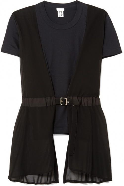 Noir Kei Ninomiya - Top en jersey et georgette