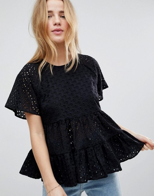 ASOS - Top brodé à smocks
