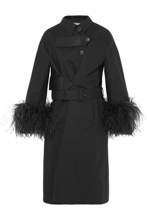 Prada - Trench-coat en coton à plumes