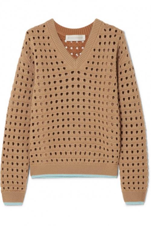 Victoria Beckham - Pull en laine mélangée à mailles ajourées