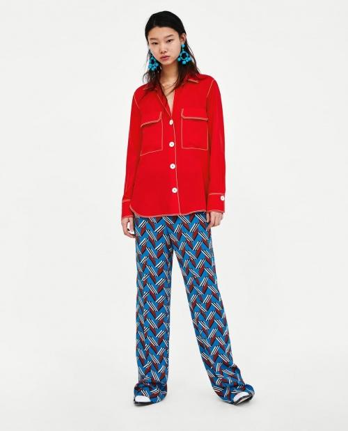 Zara - Chemise avec surpiqûres contrastées
