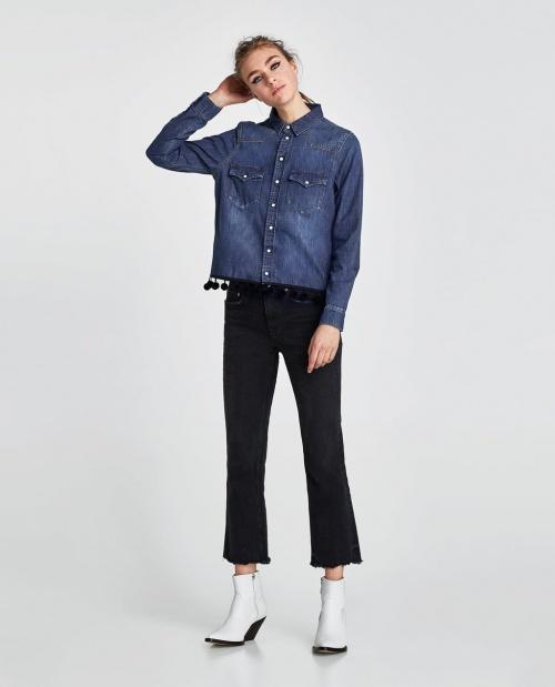 Zara - Chemise en jean à pompons