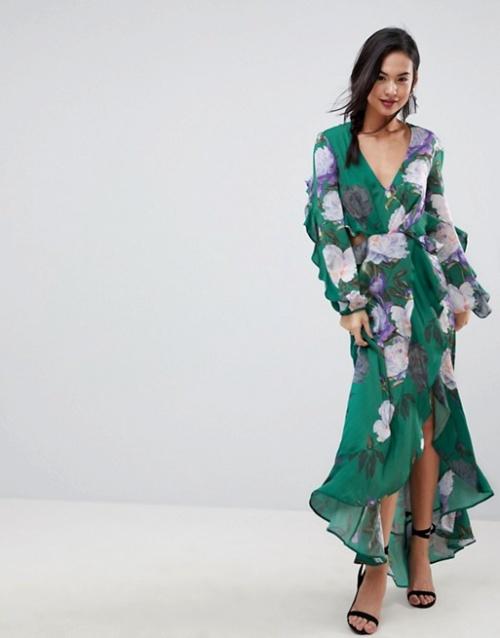 ASOS - Robe longue à fleurs et à volants
