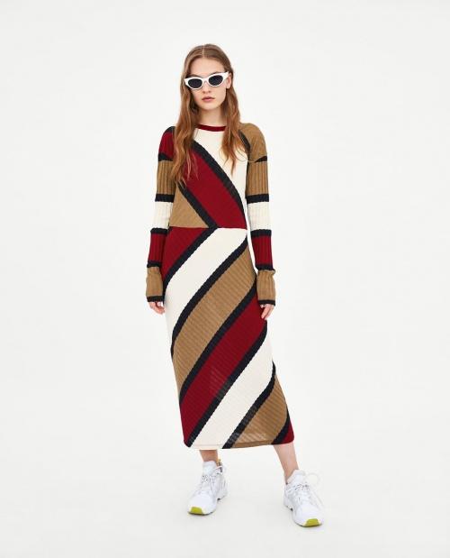Zara - Robe longue côtelée à fente
