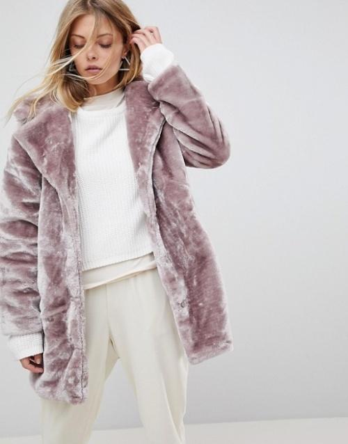 QED London - Manteau en fausse fourrure