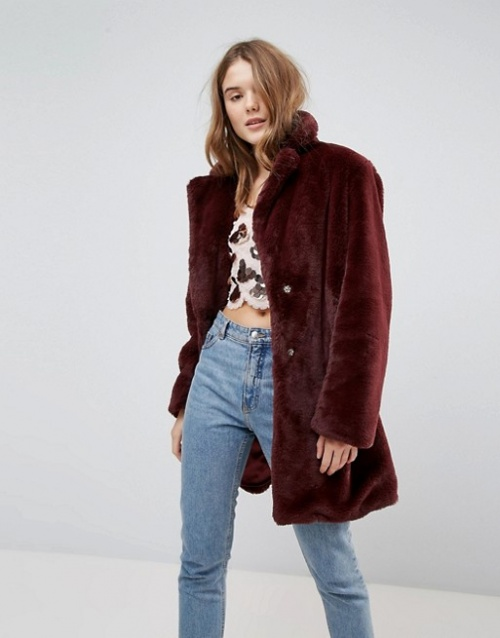 New Look - Manteau mi-long en fausse fourrure