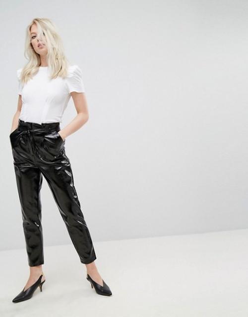 Miss Selfridge - Pantalon taille haute en vinyle