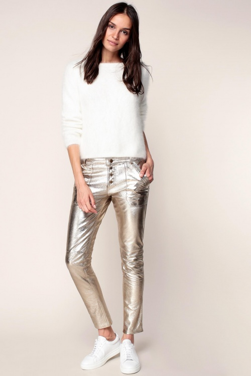 Ba&sh - Pantalon en cuir doré