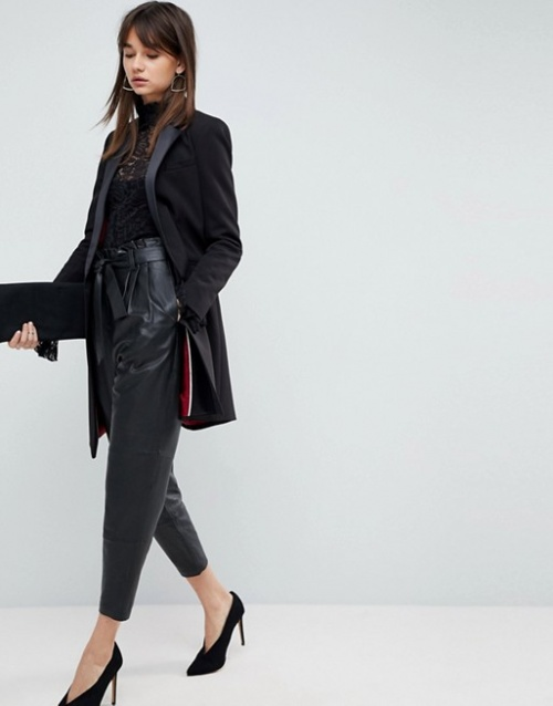 ASOS Premium - Pantalon fuselé en cuir