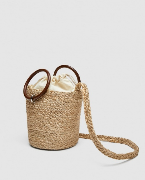 Zara - Cabas avec anses en bois