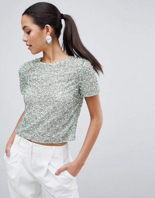 ASOS DESIGN - T-Shirt orné de sequins