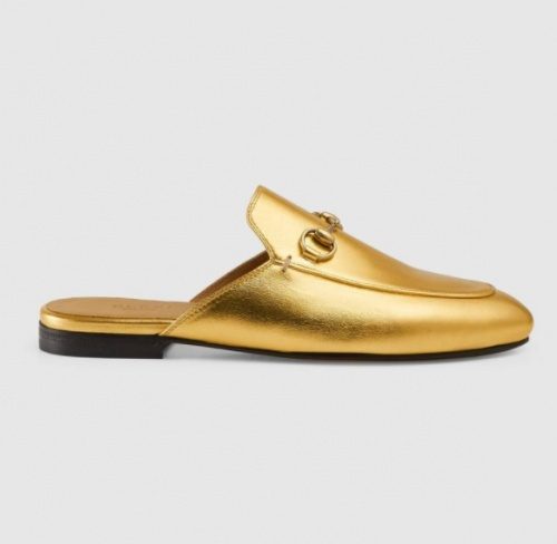 Gucci - Mocassins ouverts en cuir métallisé