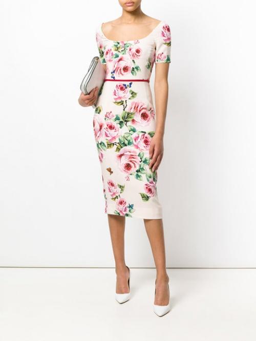 Dolce & Gabbana - Robe à imprimés rose