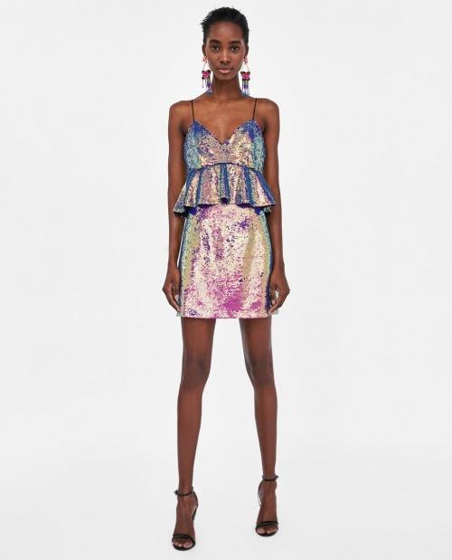Zara - Robe à paillettes multicolores