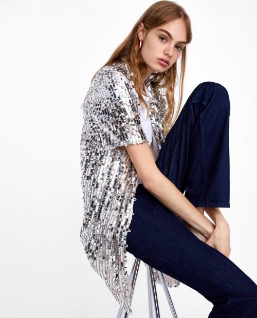 Zara - Robe chemise à sequins