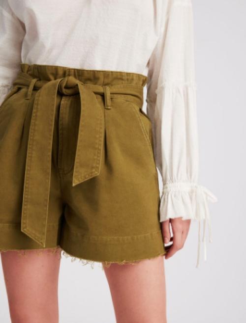All Saints - Short en coton à ourlets bruts effilochés