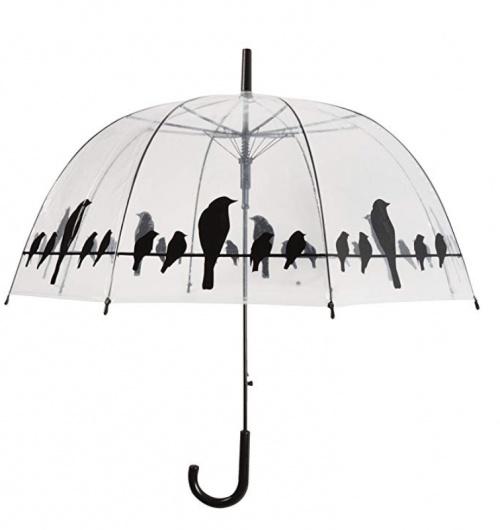 Parapluie transparent imprimé oiseaux - Le Monde du Parapluie