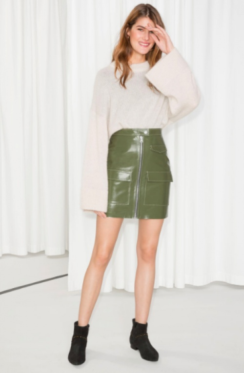 & Other Stories - Utilitarian Patent Leather Skirt