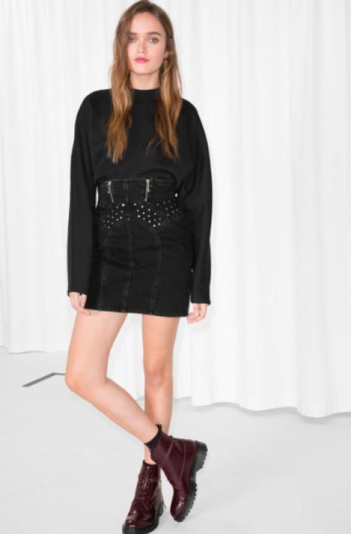& Other Stories - Stud Detail Denim Skirt