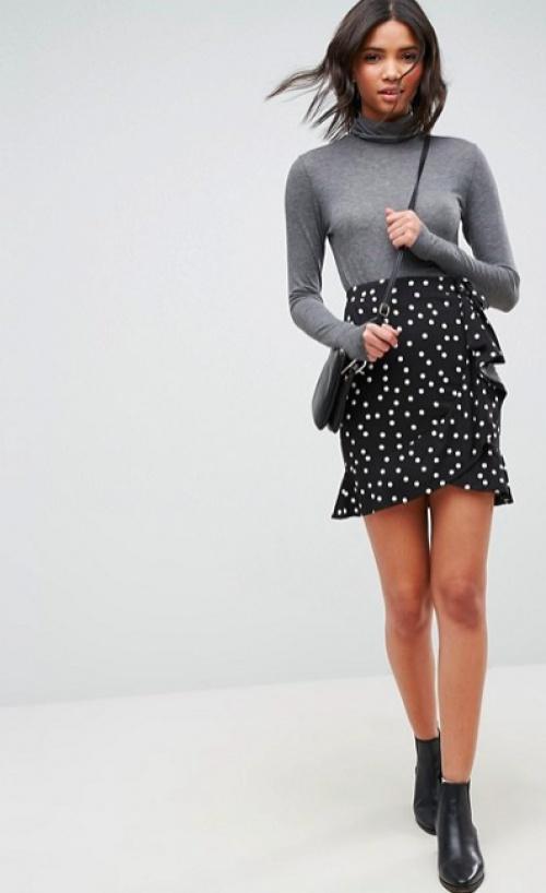 ASOS DESIGN - Mini-jupe style portefeuille avec imprimé à pois