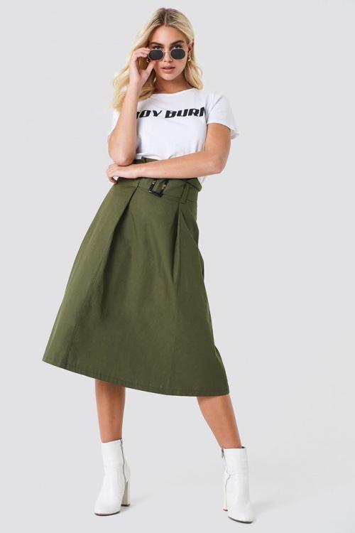 Trendyol - Paperbag Midi Skirt Green