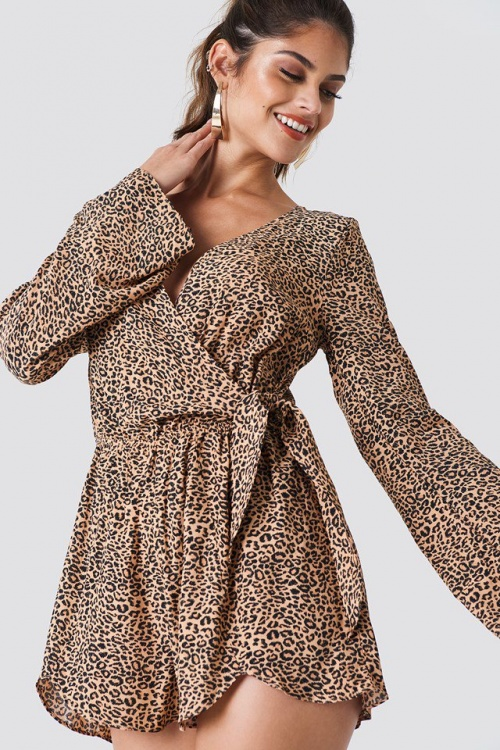 Colourful Rebel - Moon Leopard Playsuit Brown