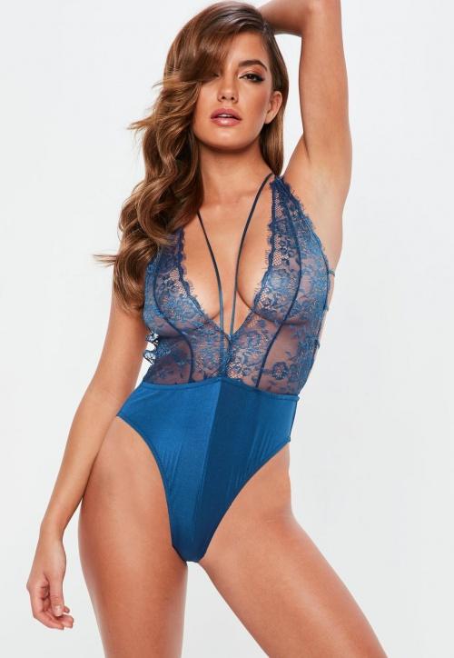 Missguided - Body Lingerie Bleu en Dentelle
