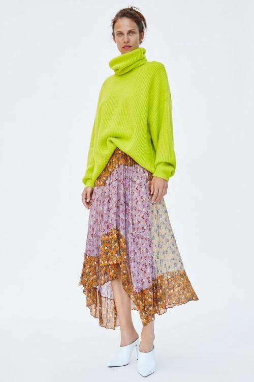 Zara - Jupe Patchwork à Imprimé Floral