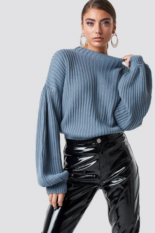NA-KD - Balloon Sleeve Knitted Sweater Blue