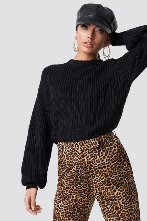 NA-KD - Dropped Shoulder Knitted Sweater Black