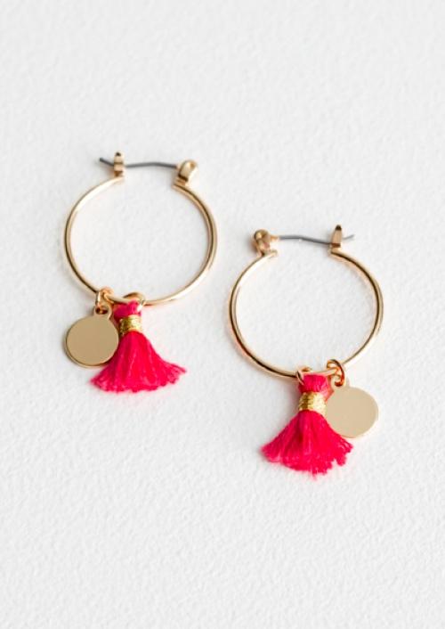 & Other Stories - Tassel Medallion Hoop Earrings