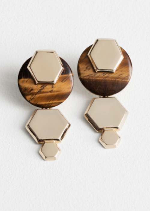 & Other Stories - Hexagon Tigers Eye Earrings