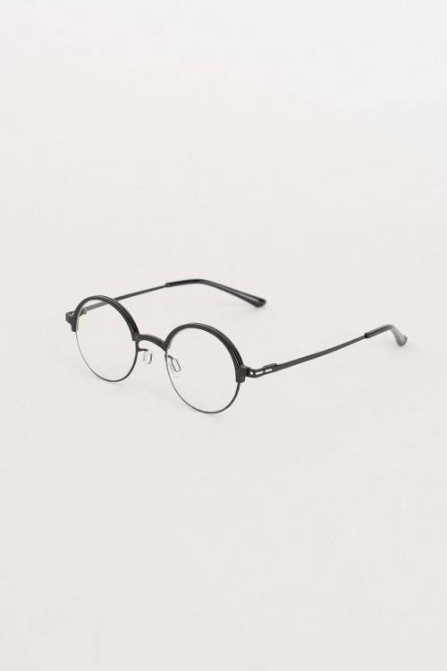 Olive Clothing - Half Plastic Frame Glasses, Black