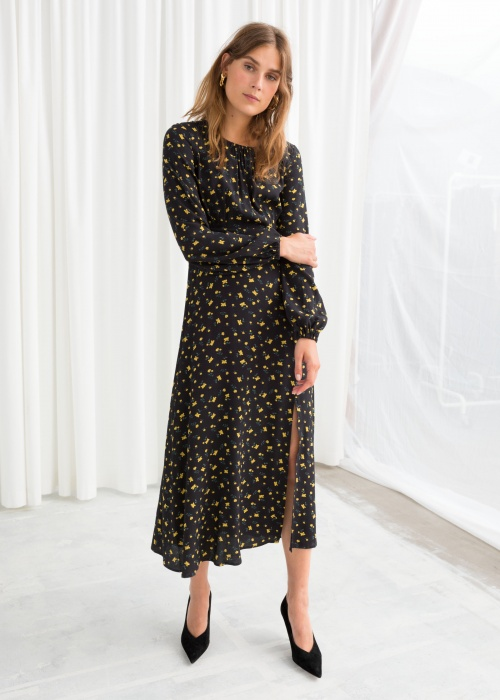 & Other Stories - Printed Long Sleeve Midi Dress