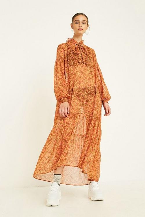 Urban Outfitters - Robe Longue à Fleurs Orange