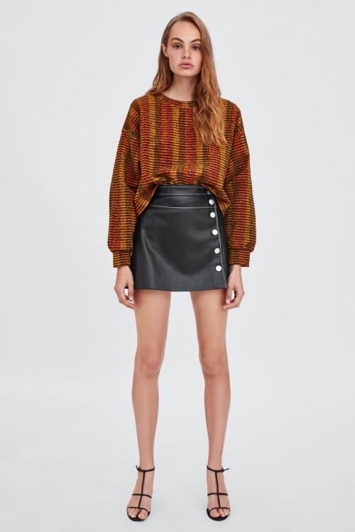 Zara - Mini-jupe en Cuir Synthétique