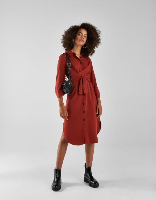 Bershka - Robe Chemise Longue avec Ceinture