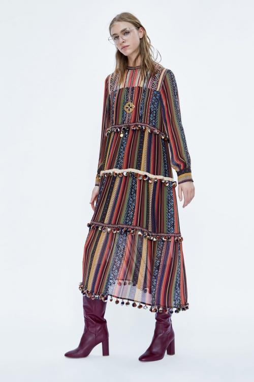 Zara - Robe à Rayures et Pompons