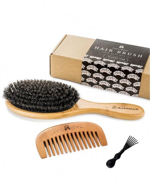 Marbeian - Lot brosse poils de sanglier et peigne en bois