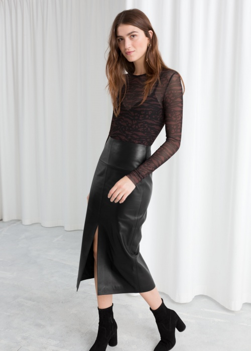 & Other Stories - Front Lit Leather Midi Skirt